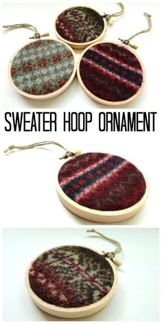 Add old sweaters to hoops for a recycled ornament idea!  (affiliate)