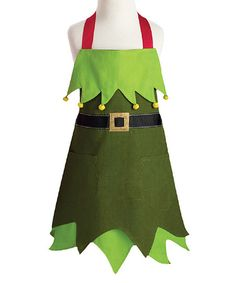 Design Imports Elf Apron - Kids | zulily.  Get Mom to make something like this, but a little more girly for the girls so we can bake Christmas cookies in them.    ❤️