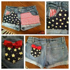 DIY American Flag Shorts! Just get some red and white striped fabric, some blue and white star fabric, an old pair of shorts, some ribbon, and a needle and thread.(Some people use actual flags but I find it disrespectful to cut an American Flag so I got the fabric). Sew the fabric on wherever you want it.(if you can't sew fabric glue will work) then tie a bow with the ribbon and use the fabric glue to put it on wherever you want it. Super cute and easy!!