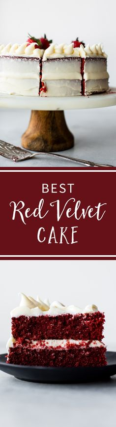 Learn exactly how to make it on sallysbakinga… BEST Red Velvet Layer Cake recipe! Learn exactly how to make it on sallysbakingaddic… Red Velvet Cake Rezept, Best Red Velvet Cake, Red Velvet Desserts, Red Velvet Recipes, Red Velvet Cakes, Velvet Cupcakes, Layer Cake Recipes, Cupcake Recipes, Cupcake Cakes