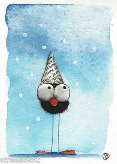 ACEO Original Watercolor Folk Art Illustration Whimsy Bird Crow Paper Hat Snow | eBay