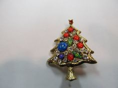Vintage Colorful Rhinestone Christmas Tree Pin by KittyCatShop