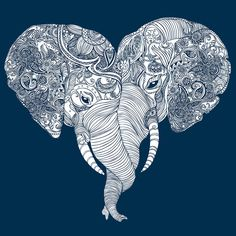 Punch Trunk Love V-Neck. This type of love is unforgettable (because elephants have amazing memory). Printed on a cotton deep v-neck tee. Designed by Sharp Shirter. Mandala Elephant, Elephant Fabric, Elephant Love, Elephant Art, Elephant Shower, Elephant Tattoo Design, Elephant Tattoos, Zentangle, Queen Tattoo