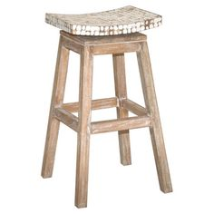 Add a nature-inspired touch to your home bar or kitchen counter with this eye-catching stool, showcasing a teak frame and saddle-style seat.