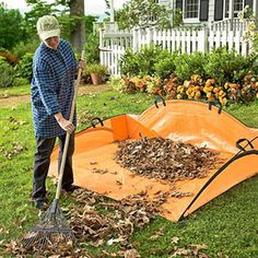 Ez Leaf Hauler: The raised sides keep leaves contained, ground stakes secure it in place, & handles help you drag the load away. Folds flat for storage. Small Backyard Gardens, Backyard Garden Design, Garden Landscaping, Outdoor Gardens, Backyard Ideas, Garden Ideas, Modern Backyard, Fence Ideas, Landscaping Ideas