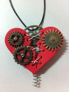 Steampunk Polymer Clay and Metal Red Heart Pendant by Risagl, $40.00