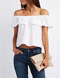 WHITERuffle Off-The-Shoulder Top