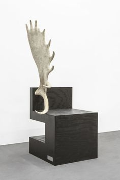 Available for sale from Carpenters Workshop Gallery, Rick Owens, Stag Chair Left Black plywood, moose antler, 127 × 87 × 69 cm Rick Owens, Moose Antlers, Galleries In London, Carpenter, Armchair, Dining Chairs, Workshop, Artsy, Interior Design