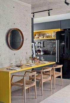 Cozinha moderna amarela e preta