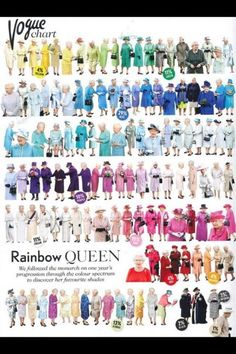 rainbow queen of england.... Funny idea to do.....You know what colors would be mine!