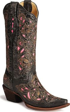 Womens Laser Etched Corral Boot with Pink Inlay $239.99