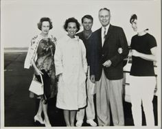 Robert and Ethel Kennedy, and Jacqueline Kennedy, with General Maxwell and Lydia Taylor at Hyannis Airport in July 1964