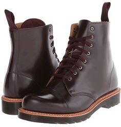 $74, Burgundy Leather Boots: Dr. Martens Charlton 8 Eye Toe Cap Boot. Sold by 6pm.com. Click for more info: https://lookastic.com/men/shop_items/207642/redirect