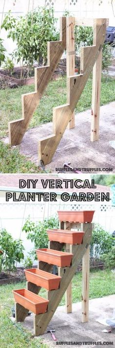 DIY Vertical Garden With Planters On Stair Risers. by cathy
