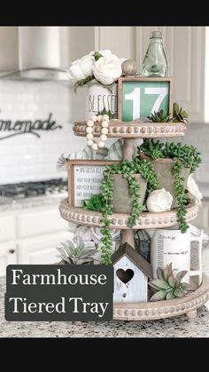 Spring Home Decor, Fall Decor, Seasonal Decor, Holiday Decor, Tray Styling, St Patrick's Day Decorations, Tiered Stand, Décor Boho, Country Farmhouse Decor