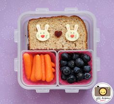 meet the dubiens blog    And lastly, another bunny bento in the 4 square lock and lock bento. She had half a chicken sandwich. On top of the chicken sandwich were 2 cheese bunnies with food marker details, heart sprinkle noses and a fruit leather heart. The other containers held silicone cups with baby carrots and blueberries.