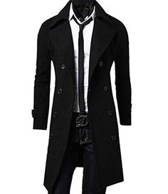 Mens Long Wool Coats Black