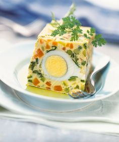 Vegetable terrine with eggs – Cuisine and Wines of France Vegetable Side Dishes, Vegetable Recipes, Vegetarian Recipes, Healthy Recipes, Egg Recipes, Appetizer Recipes, Appetizers, Cooking Recipes, Creative Food
