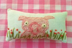 Little Pink Pig Hand Embroidered Pillow READY TO by YelliKelli, $20.00