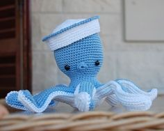 Important: Sailor Octopus pattern is available only in English language! This is a listing for the crochet pattern, not finished doll!  He has blue blood and three hearts but although hes different he still can become your very best companion. If youre interested to hear some interesting deep blue ocean stories right from the first hand than dont waste your time. Format: PDF document of 6 pages with detailed instructions and 17 photos illustrating the process.  Finished size: It works well…