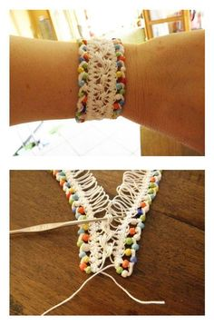 Crochet hairpin lace bracelets - step by step tutorial .Idea-> tat using big picots then hairpin lace together. Crochet Pretty Bracelets with Patterns Crochet hairpin lace bracelet Source by The post Crochet Pretty Bracelets with Patterns appeared first o Hairpin Lace Crochet, Bead Crochet, Crochet Crafts, Yarn Crafts, Crochet Projects, Free Crochet, Hairpin Lace Patterns, Crochet Poncho, Decor Crafts