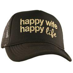 Katydid Happy Wife Happy Life Wholesale Glitter Trucker Hats fe81a38b9d34