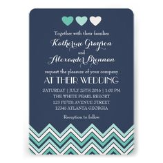 Navy Chevron Wedding Invitation with Love