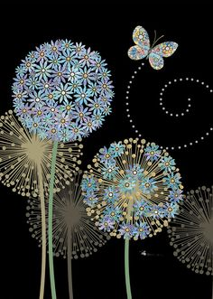 Bug Art m120 blue alliums greetings card