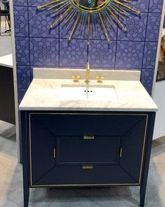 ronbow vanity at kbis blue with brass inlay - Ronbow Vanities