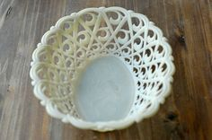 vintage basket / french retro cream bread fruit bowl by BOULOTDODO
