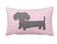Pink & Gray Chevron Dachshund Pillow