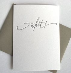 Letterpress Card--Guess What on Etsy, $4.25