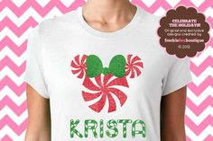 Personalized Custom Name Peppermint Christmas Disney Minnie Mouse Mickey Mouse Custom Name Glitter Short Sleeve Tee Shirt