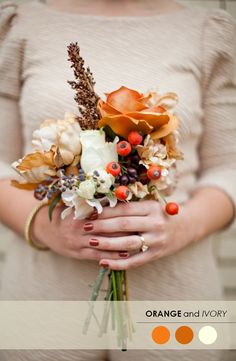18 Fall Wedding Color Palettes - The Ultimate Guide www. october wedding colors schemes / fall wedding ideas colors october / fall wedding ideas november / fall winter wedding / fall colors for wedding Fall Wedding Bouquets, Fall Wedding Flowers, Orange Wedding, Fall Wedding Colors, Autumn Wedding, Wedding Color Schemes, Rustic Wedding, Ivory Wedding, Wedding Boquette
