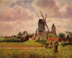 AAAA The Knocke Windmill, Belgium Artist: Camille Pissarro Start Date: Completion Style: Impressionism Genre: landscape Technique: oil Material: canvas Gallery: Private Collection Post Impressionism, Impressionist Art, Paul Gauguin, Renoir, Claude Monet, Camille Pissarro Paintings, Pissaro Paintings, Gustave Courbet, Oil Painting Reproductions