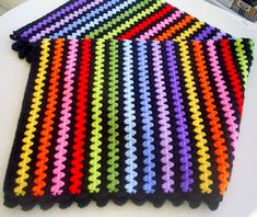 granny stripe blanket--picture only. Would make cute boot cuff pattern. Like the. granny stripe blanket--picture only. Would make cute boot cuff pattern. Like the black with the colors. Crochet Afghans, Crochet Stitches Patterns, Crochet Granny, Crochet Designs, Crochet Yarn, Crochet Blankets, Granny Stripes, Granny Stripe Blanket, Striped Crochet Blanket