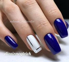 28 Cute Red And White Nail Art Designs To Try This Year - Workout Plan Trendy 60 Nail Art Pictures 2018 Flower Nail Art Nail Art Design Gallery, Best Nail Art Designs, Acrylic Nail Designs, Acrylic Nails, Blue Nail Designs, Coffin Nails, Blue And White Nails, White Nail Art, Royal Blue Nails