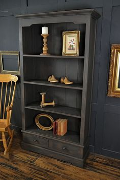 For the Home This rustic bookcase has been painted in Vintro Midnight and distressed back to the rich wood tones underneath. Perfect grown-up storage! http://www.thetreasuretrove.co.uk/cabinets-and-storage/black-2-drawer-shabby-chic-bookcase