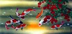 watercolor art fruit | Huge Koi Fish and Lychee Fruit Chinese Painting