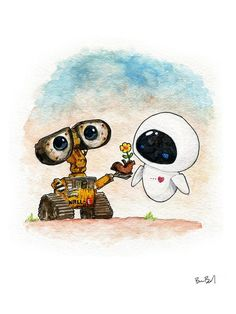 Wall-E and eve inspired watercolor print wall e eve, disney wallpaper, wall Cartoon Cartoon, Cartoon Drawings, Watercolor Flower, Watercolor Print, Watercolor Paper, Cute Disney Wallpaper, Cute Cartoon Wallpapers, Cute Disney Drawings, Cute Drawings