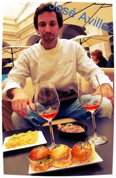 #Lisbon Top Chef José Avillez with his food. Crab Brioche Hamburger, Balcalhaa a Bras with exploding olives & Braised Tuna with Vegatables & Olives. Check his #Lisbon Eateries -Cantinho do Avillez Restaurant http://cantinhodoavillez.pt/?lang=en or the the Fabulous Belcanto http://belcanto.pt/ It is best to book your table to avoid disappointment!