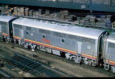 Railroads, Chicago-style, Santa Fe and Pennsy B units seen from the...