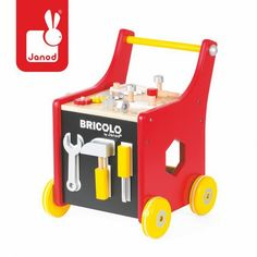 This tool kit trolley from Janod is super stylish and comes with 25 building accessories, three magnetic tools, a vice; and the pushalong trolley it all stories in. The trolley has a clever magnetic board Diy For Kids, Gifts For Kids, Baby Toys, Kids Toys, Tool Cart, Kid Essentials, Shops, Eco Friendly Toys, Imaginative Play