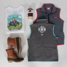 Perfect fall outfit featuring this Monogrammed Harborside Vest from Marleylilly.com!