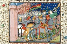 Army of Alexander. Detail of a miniature of the army of Alexander marching. Origin: France, N. (Rouen). Attribution: Talbot Master  Poems and Romances (the 'Talbot Shrewsbury book'). Origin: France, N. (Rouen). Date 1444-1445. Medieval Imago & Dies Vitae Idade Media e Cotidiano.