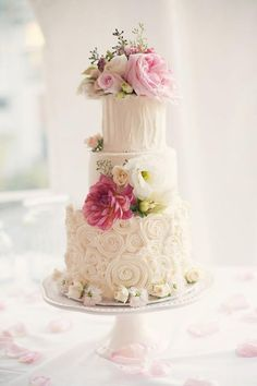 Romantic Rustic Pink Wedding Cake