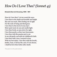 Elizabeth Barrett Browning S Sonnet How Do I Love Thee 43