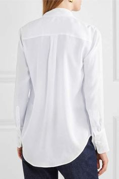 cae04ef82c719 Equipment Luis Pussy-bow Silk Crepe De Chine Blouse - White  bow Silk