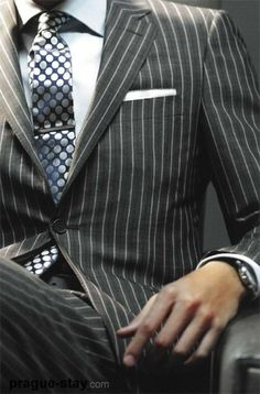 Men's Fashion: Grey Pinstripe Suit . . . Classic <3