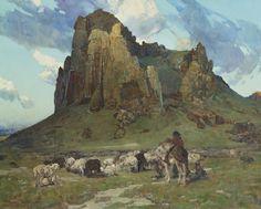 Where Navajos Tend Their Flocks, Frank Tenney Johnson SHEAR [in-spuh-rey-shuhn]: Photo Native Art, Native American Art, American Artists, Traditional Paintings, Traditional Art, Phoenix Art Museum, Cowboy Art, Southwest Art, Classic Paintings